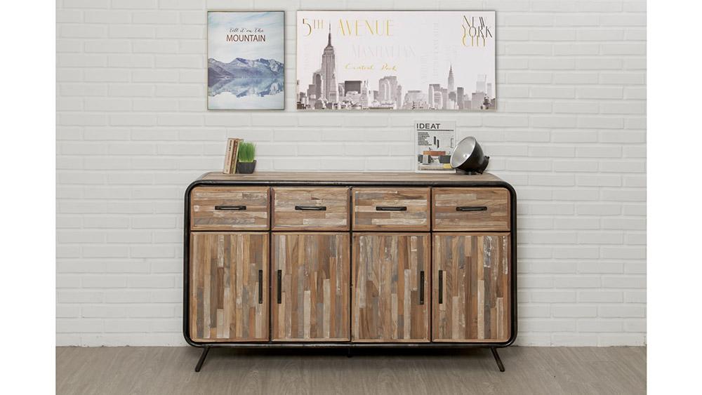 Buffet en bois recyclé et métal - 4 portes - 4 tiroirs - FUSION